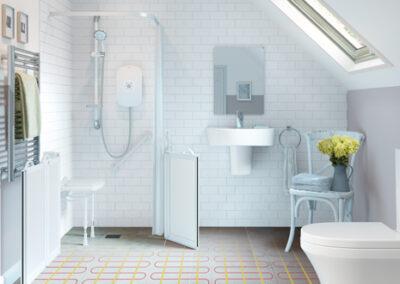 Wetroom Installation with underfloor heating
