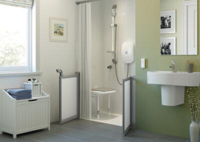 Wetroom Shower with Bi Folding Shower Screen