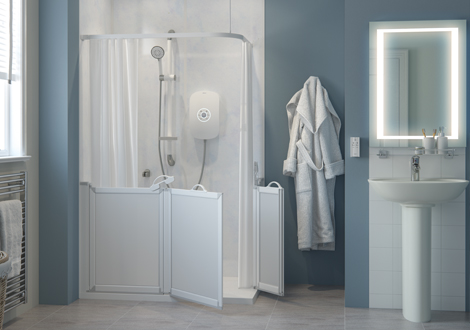 Wetroom Shower with bi folding shower screens